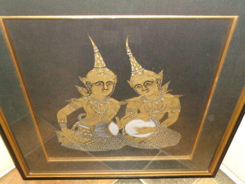 Vtg Thai Buddhaist Asian Temple Rubbing Framed Picture Wall Art Thailand