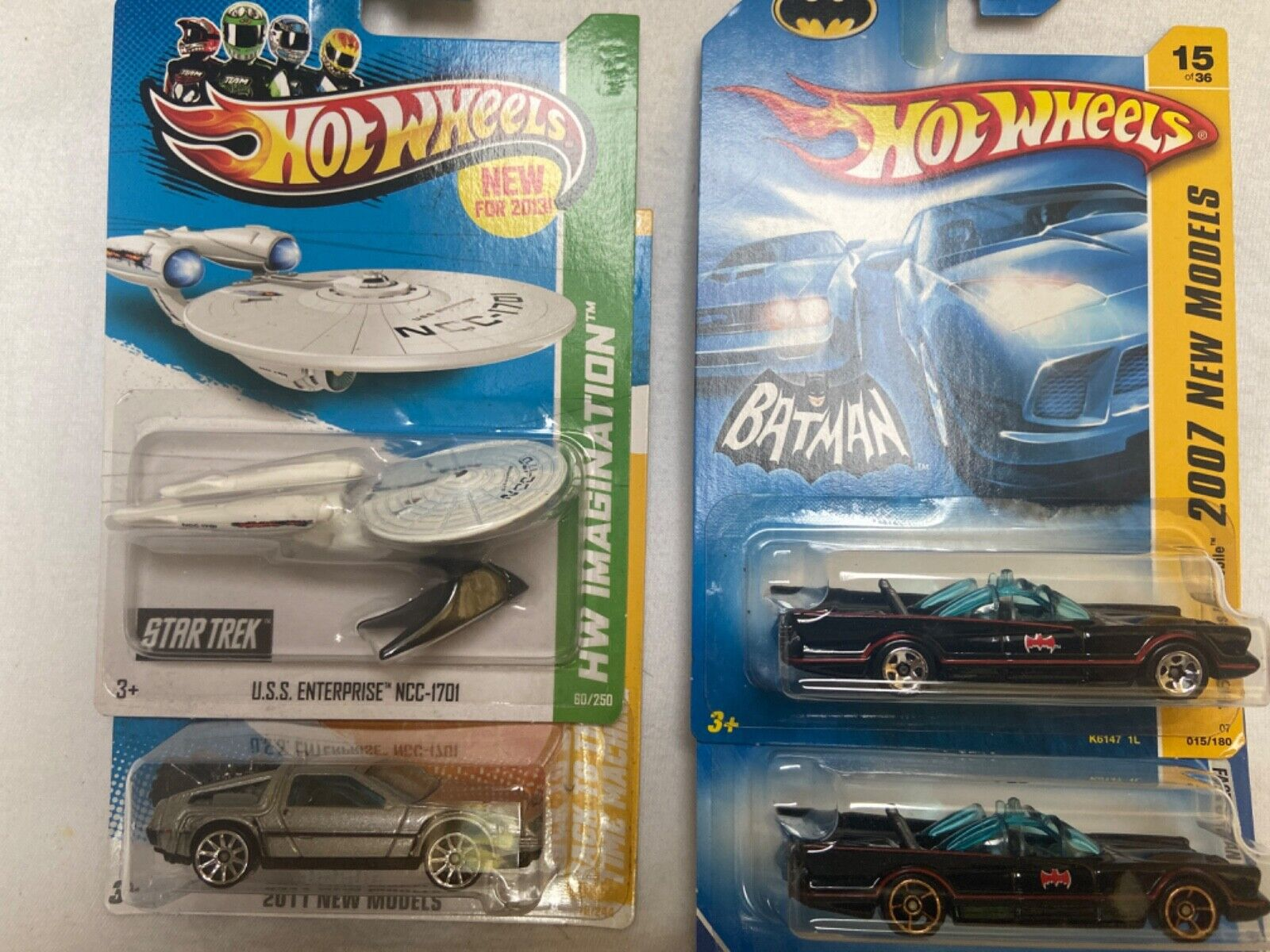 HOT WHEELS Back To The Future DeLorean, Batman Original 66 Batmobile, Star Trek - $5.99