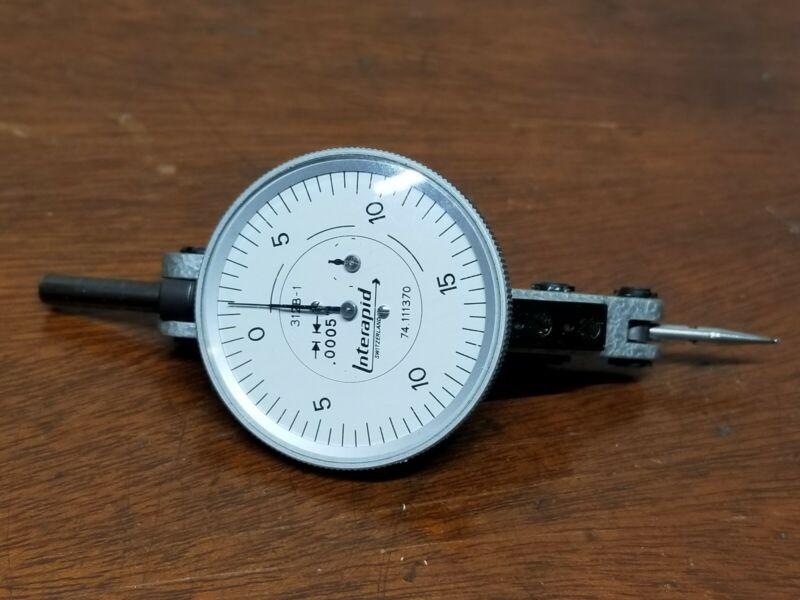 "Interapid 312B-1 Dial Indicator .005"" Grads Excellent Condition"