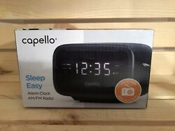 Capello Sleep Easy Digital Alarm Clock with AM/FM Radio Black New Open Box.