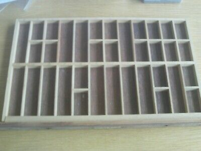 Original, vintage wooden, letterpress  printers tray15.5 x 9.75inches Tray No 6