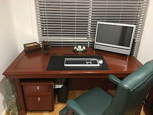Desk, filing cabinet, return table bookcase & leather chair Helensvale Gold Coast North Preview