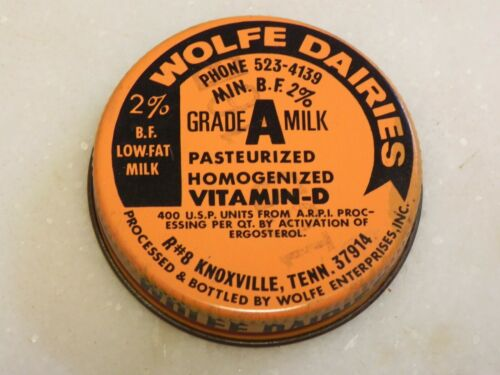 "Wolfe Dairies Grade A Milk 2 % Metal Cap Lid Original 1 7/8"" Diameter Knoxville"