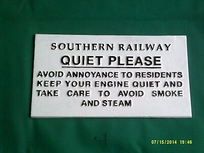 "Southern railway sign 10 1/2"" x 5 3/4"" made in mould from old iron sign"