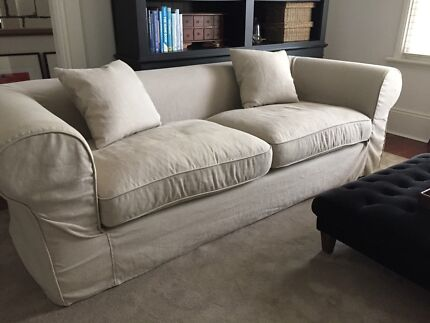 NATURAL LINEN SLIPCOVERED HAMPTONS STYLE 3 SEAT SOFA Petersham Marrickville Area Preview