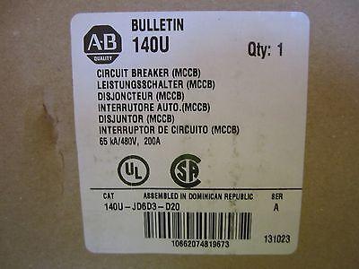 New Allen-bradley 200a Amp Breaker 140u-jd6d3-d20 New In Box
