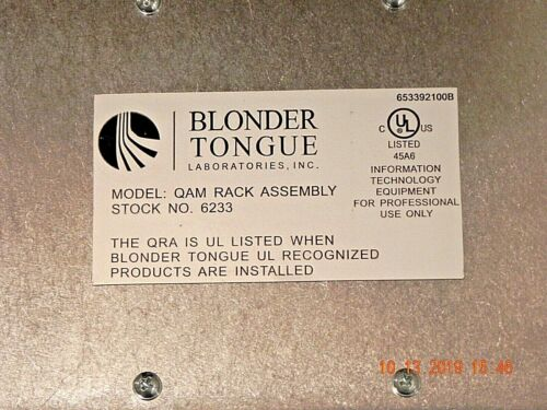 BLONDER TONGUE 62633 QAM RACK ASSEMBLY WITH CARDS UNUSED