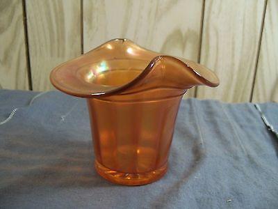 Vintage Dugan Band Top Hat Vase in Marigold Carnival Glass Item 585