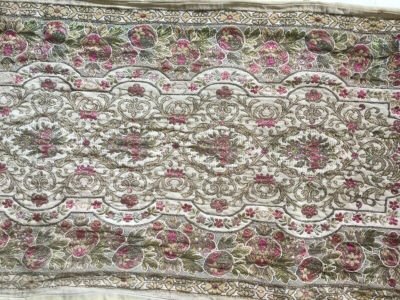Antique Vintage Woven Textile Table Runner~Dresser Scarf with Metal Thread Work