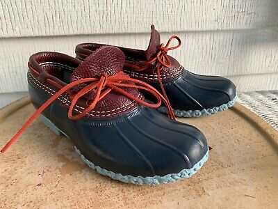 LL BEAN SHORT BOAT DUCK WATERPROOF RUBBER MOCS SMALL BATCH BLUE BURGUNDY 6 M for sale  Shipping to South Africa