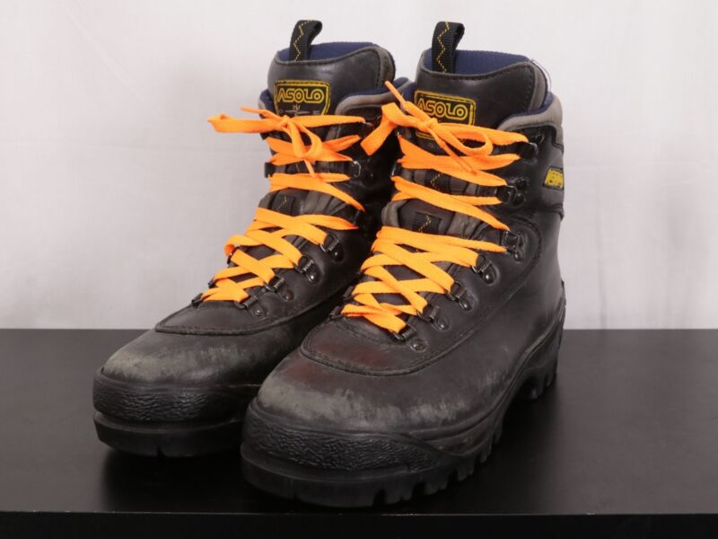 2c6dda8da47 ASOLO Ridge Leather Mountaineering Boots Vibram Lugged Soles Black ...