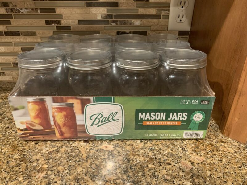 12 Ball 32 Oz Quart Wide Mouth Canning Jars Lids Bands New Sealed