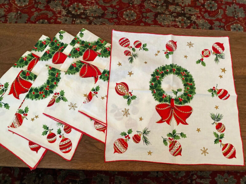 Lot of 12 Vintage Cloth Christmas Napkins Wreath Ornaments Red Green Gold