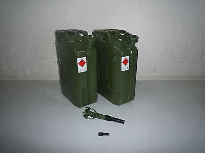 2 x 20 Liter Benzinkanister Metall GGVS mit Sicherungsstift inkl. Auslaufrohr