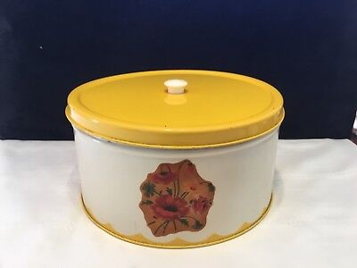 Vintage Metal Tin Cake Carrier Pie Saver White & Yellow Kitchen Canister (N65)