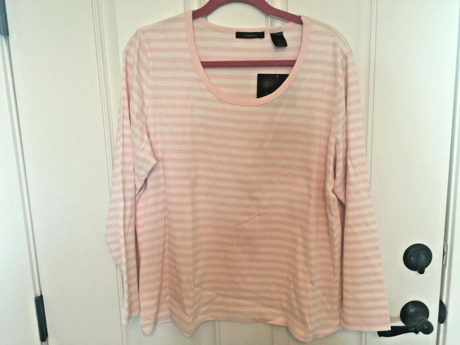 NEW/TAGS! ~LIZ CLAIBORNE~ STRETCH COTTON KNIT TOP PINK & WHI