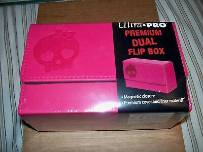 Ultra Pro Premium Dual Flip Deck Box Pink Skull Magnetic Leather-like holds 200 (Dual Deck)
