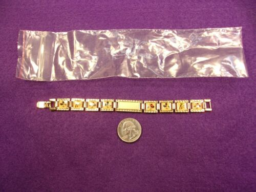 #2 of 2, N/M CONDITION NOS VTG GOLD PANEL BRACELET - MICKEY, GOOFY, MINNIE MOUSE