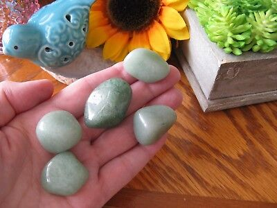 "New Natural Brazilian Green Aventurine Crystal ""Good Luck"" Tumbled Stone Set"