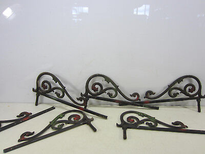 6 Antique Swing Out Cast Iron Sliding Curtain Rods for Projects-missing parts