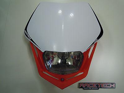 Mascherina Portafaro Moto Racetech V-face Rosso Bianco Honda Headlight Rtech usato  Belforte
