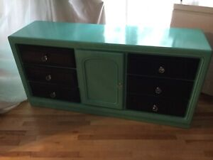Blue & teal long dresser - - -