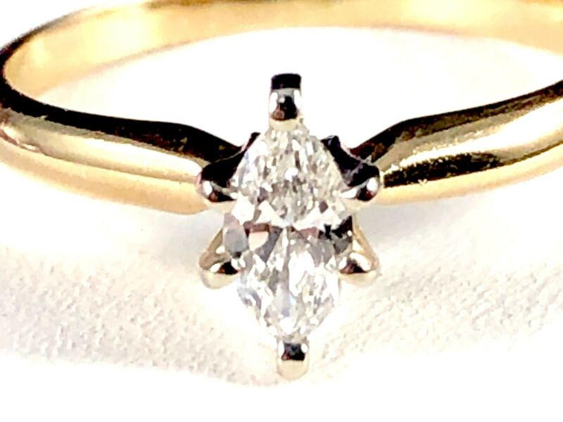 d6c23dfec2705 Details about LEO SCHACHTER 14K YELLOW GOLD 1/4 CT NATURAL MARQUISE DIAMOND  ENGAGEMENT RING