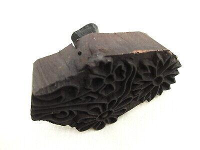 "Vintage Wooden Block Stamp India Fabric Textile Printing~Batik~Flowers~5"" x 4"""