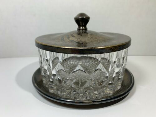 Vintage New Amsterdam Silver Co Crystal Butter Dish W/Tray & Lid