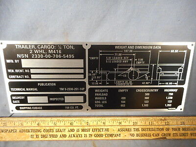 M416 Operational Data Plate for military Trailer M151 M38 M37 CUCV M715 M998 M35 for sale  Osceola