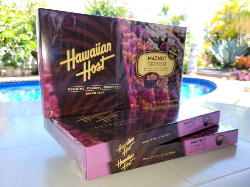 Macnut Crunch Macadamia Nut chocolate by Hawaiian Host 3 boxes SameDay Shipping