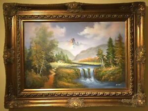 Oil canvas painting on wood frame