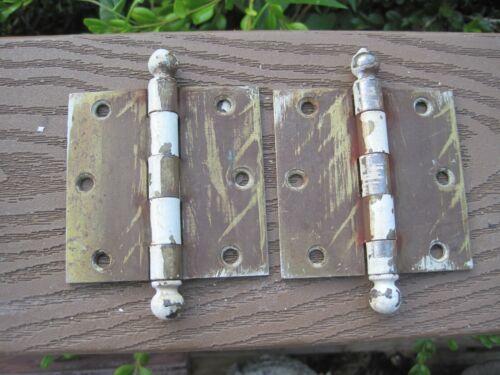 pair  2 Antique cannonball top  steel door hinges 3  x 3 incxh