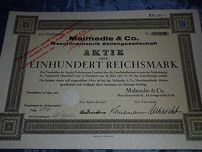 1160 : histor. AKTIE , Malmedie Maschinen Fabrik , Düsseldorf März 1927 / 20304