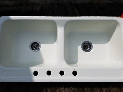 """Cast Iron, 42"""" Double Porcelain Country Sink, REDUCED PRICE $50; Good Condition"""