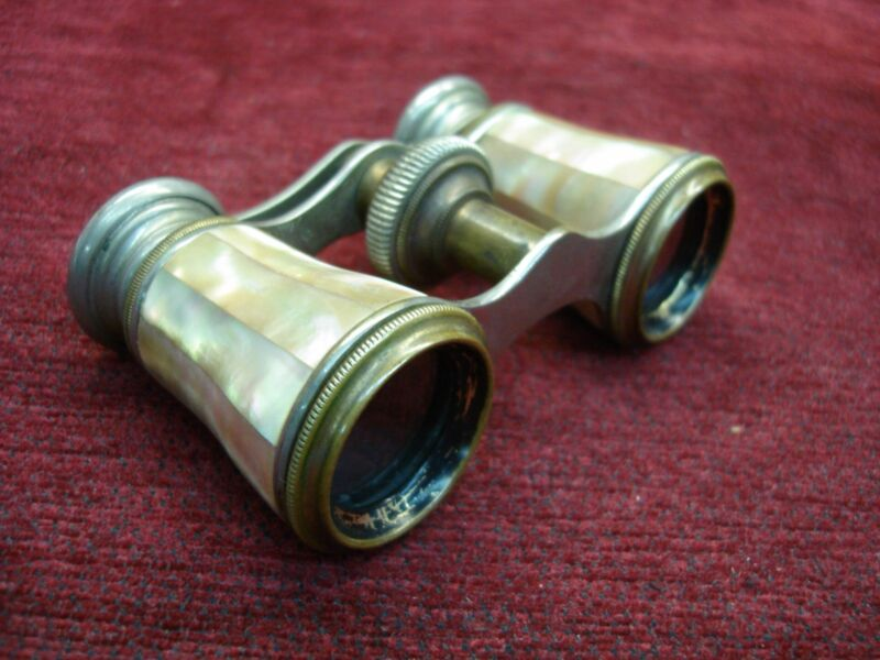 VINTAGE CHEVALIER - PARIS - OPERA GLASSES WITH M.O.P. TUBE COVERS - EXCELLENT