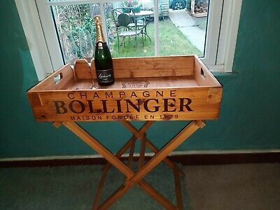 BOLLINGER WOODEN BUTLERS TRAY TRAY WITH STAND