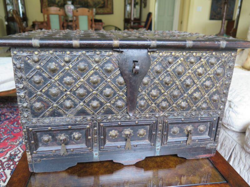 """Large Antique Box Southeast Asia Dark Wood and Studs 3 Drawer 19"""""""