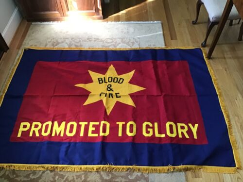 Large Salvation Army Memorial Flag, Blood & Fire, Promoted to Glory