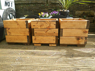 3 square chunky wooden garden planters treated plant pot free postage