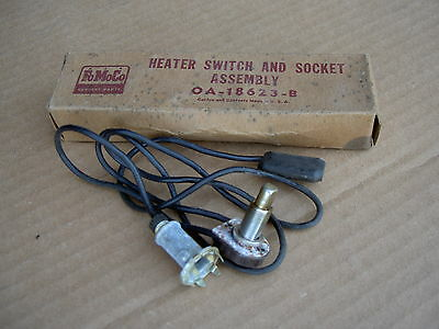 49 Ford, 51 Ford Station Wagon accessory heater switch & socket assembly, NOS