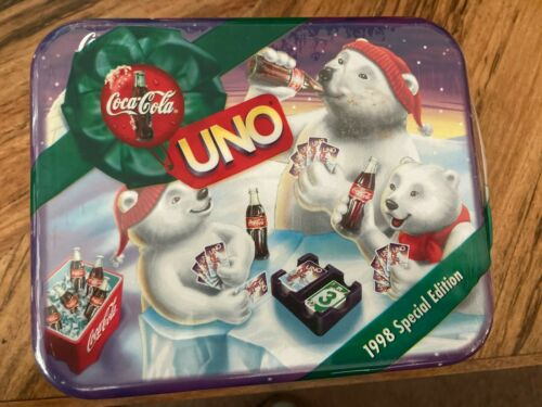 New Sealed 1998 COCA-COLA Coke Special Edition UNO Card Game Bears Tin, Holiday