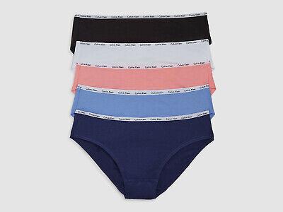 $115 Calvin Klein Women's Blue Pink White Cotton 5-Pack Bikini Underwear Size M
