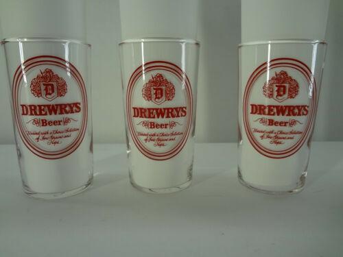 3 Vintage DREWRYS BEER small glasses