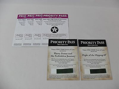 6 UNIVERSAL STUDIOS HOLLYWOOD FRONT OF LINE PRIORITY PASSES 2 FOR HARRY POTTER
