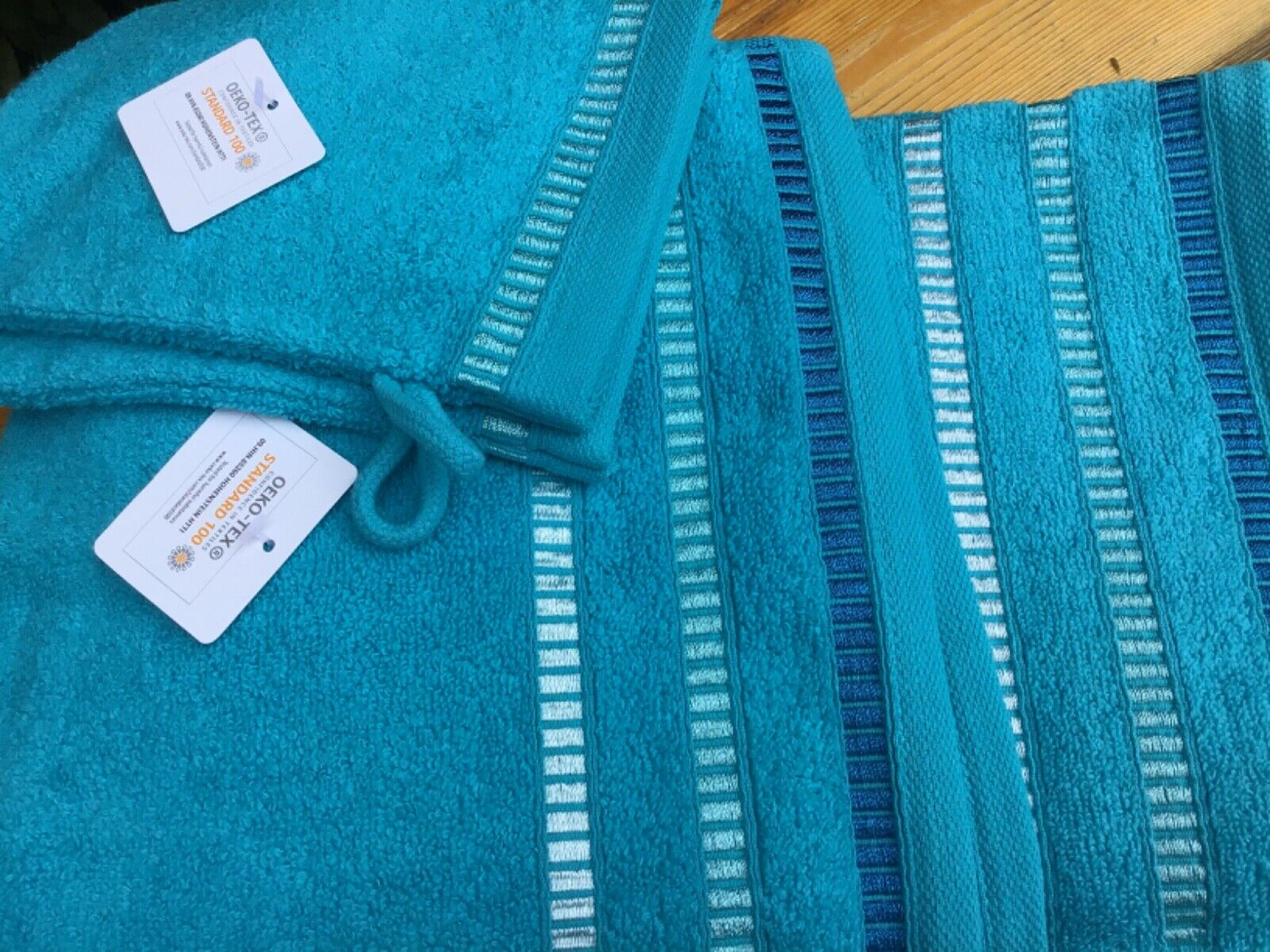 SEEDÜNE Handtuch-Set Türkis Glanzbordüre 100% Baumwolle 6tlg. Duschstuch QVC Neu