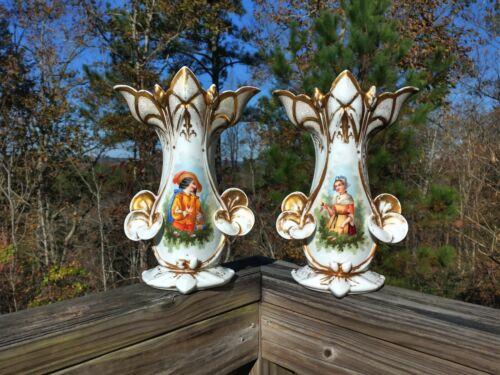 pair 2 antique French porcelain old paris vase circa 1860 Tristan & Isolde