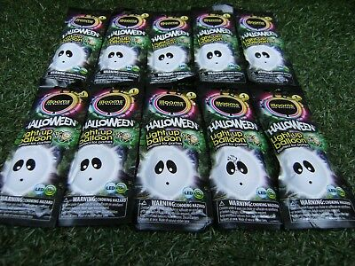 9 NEW SEALED PACKS OF ILLOOMS HALLOWEEN PARTY LIGHT UP GHOST LED BALLOONS  ()