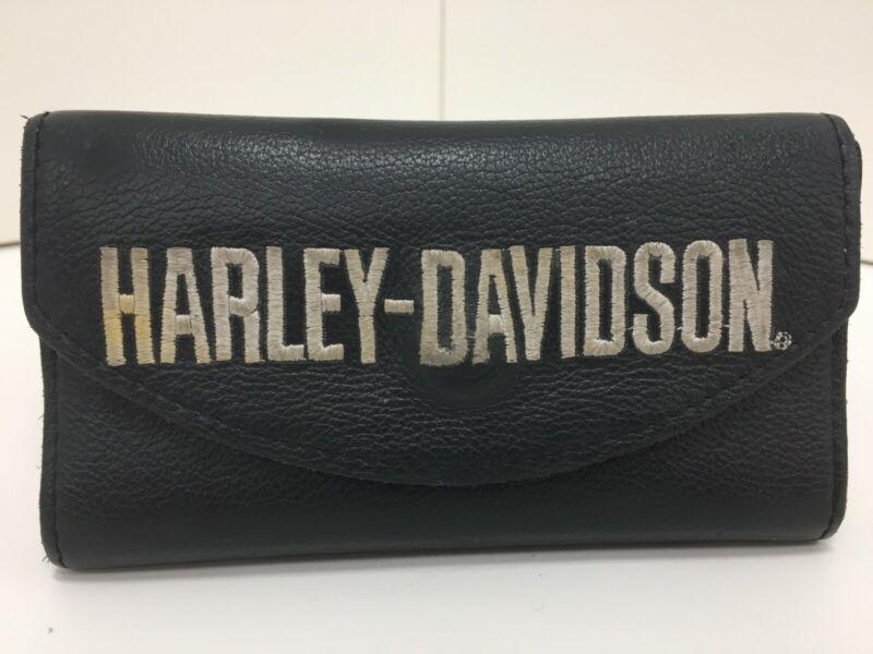 Harley Davidson Black Leather Wallet / Checkbook