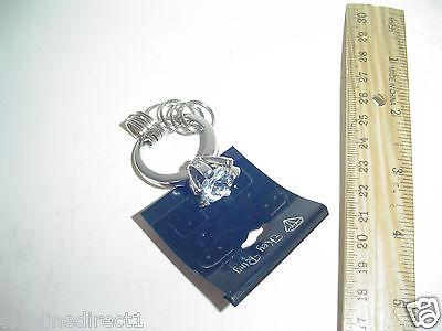 BIG Lg Faux Imitation Diamond Key Ring Keychain Silver Bling Auto Car - Diamond Ring Keychain